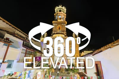 Elevated 360 pano of Church of Our Lady of Guadalupe