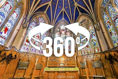 360 pano of St. George's Anglican Church, in Montreal, Canada.