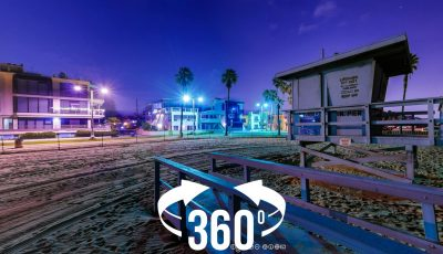 360 panorama: Venice Beach at night